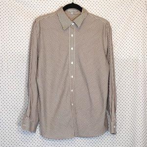 Foxcroft 14 Top Brown White Striped Wrinkle Free
